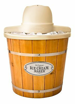 Nostalgia ICMP400WD 4-Quart Electric Wood Bucket Ice Cream Maker Brown