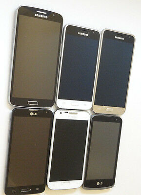 Lot of 6 Untested LG & Samsung Smartphones 5 GSM Phones AS-IS
