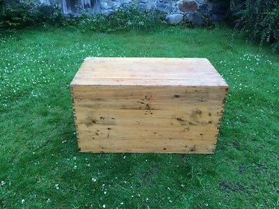 Vintage Rustic Pine Trunk / Chest / Box