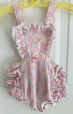Vintage Baby Girls Toddler Floral Pink Blue Ruffle Frill Sunsuit Romper 18m 24m