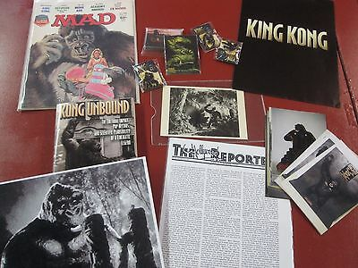 King Kong miscellaneous lot--book, pins magnets and photos