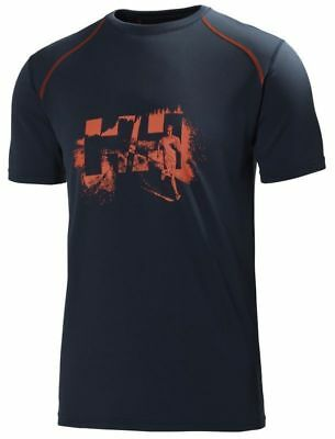 Helly Hansen Cool SS Shirt, Mens Lifa T-Shirt, Navy/Print, L