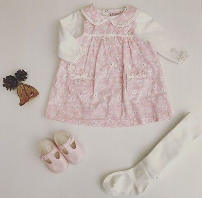 Baby Girls Corduroy Pink Pinafore Dress - Traditional Spanish Style