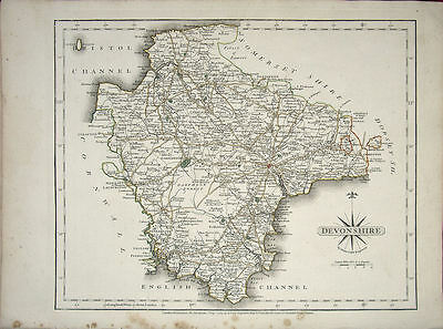 ANTIQUE MAP: DEVONSHIRE. JOHN CARY. 1st EDITION 1787. ORIGINAL HAND COLOURING