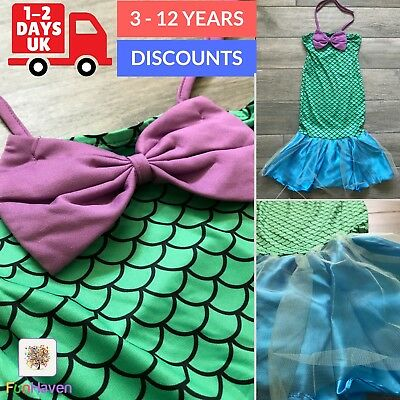 Girls Little Mermaid Costume Kids Disney Princess Dress Up Party Ariel 7 8 9 10+