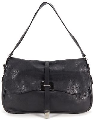 PRADA Black Pebbled Leather Flap Shoulder Bag