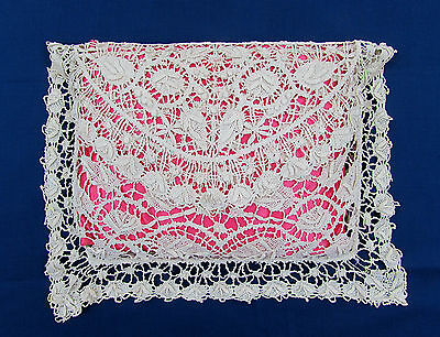 Antique Irish Crochet Lace Envelope Pillow Cover w/satin pillow 9x13 center