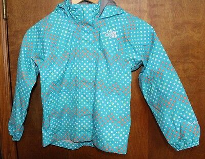 THE NORTH FACE Blue Polka Dot Hooded Rain Jacket Girl's Size 6 GUC
