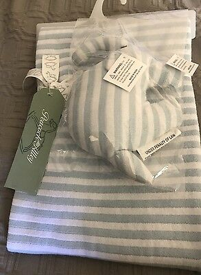 "PEACOCK ALLEY BABY Set Blanket & Stuffed Elephant $95 Boy 30""x40"" Blue"