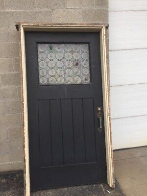 "Pg 18 Antique 45"" X 85 1/2"" Oak Entrance Door Rondell Stainglass"