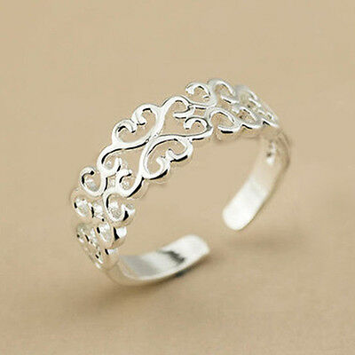925 Sterling Silver Plated Adjustable Thumb/finger  Ring For Women Hollow Hearts
