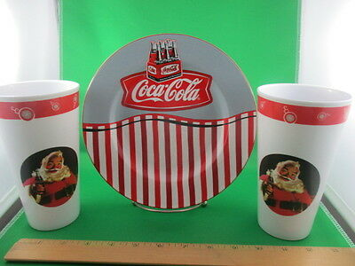 Coca Cola Plate & Two Cups