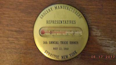 Vintage Antique Advertising Pocket Mirror with Thermometer Grocery  1940