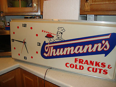 Lighted Thuman's Clock - Franks And Cold Cut Sign - Working