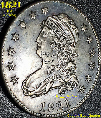 1821 Capped Bust Quarter **awesome Au** (R3) Scarce