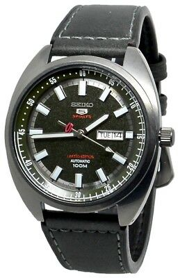 Seiko 5 Sports Automatic SRPB73 Green Dial Black Leather Band Men's Watch