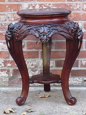 Antique Chinese Rosewood Carved Plant Stand Lamp Table