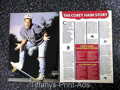 COREY HAIM * 2 Page Magazine Clippings Feature Photo *  1980s