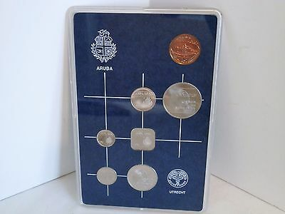 1986 Aruba Coins Mint Proof Set 7 Coin Set In Clear Plastic Case.