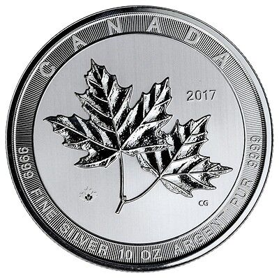2017 10oz $50 .999 Fine Silve Canadian Maple Leaf Uncirculated In Plastic Holder