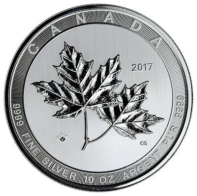 2017 10oz .999 Fine Silver Canadian Maple Leaf Coin Uncir .  in Plastic Holder