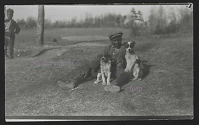 Real Photo Postcard,RPPC,Cute Black Boy,Mixed Breed Dog,Rat or Russell Terrier ?