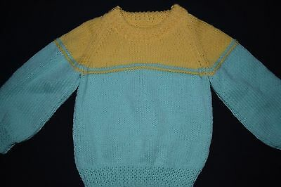 Yellow and mint green Child's knitted jumper, size 2 - 3 - handmade