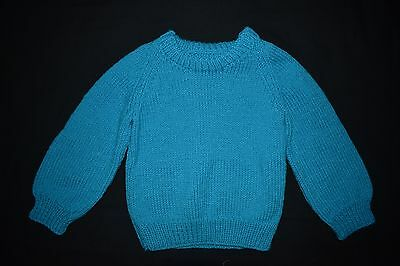 Teal Child's knitted jumper, size 2 - 3 - handmade