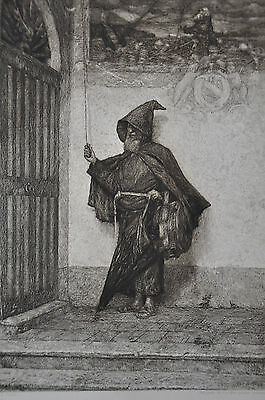 Signed Orig Late1800s Etching - In Front of the Monastery by Celestino Turletti