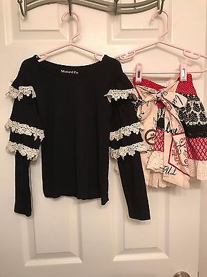 Mustard Pie 4T Black/Cream Lace Top and 3T Holiday Skirt EUC