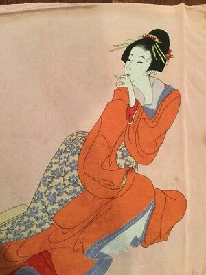 Japanese Lady On Peach Silk Perfect To Frame