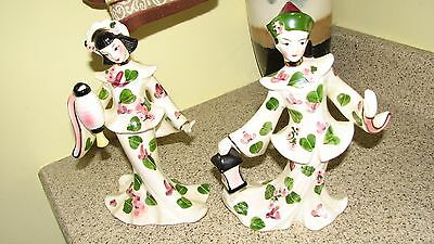 Vintage Geo Z. Lefton 10268 Chinese man and woman with lanterns figurines geisha