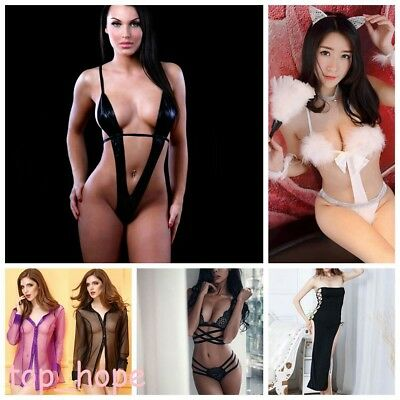 Sexy Women Lace Sissy Babydoll Lingerie G-string Thong Sleepwear Erotic Costumes