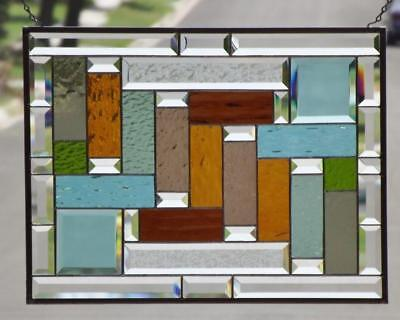 """•ROMANTIC Notion• Beveled Stained Glass Window Panel •21 ½"""" X 16 ½"""" (55x42cm)"""