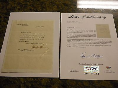WOODROW WILSON SIGNED WHITE HOUSE LETTER PSA/DNA LOA 28th PRESIDENT POTUS AUTO