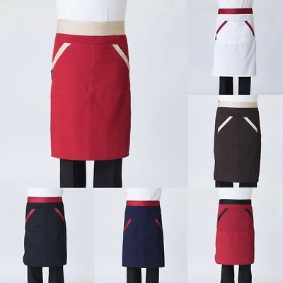 Chef Waist Apron Pockets Half Body Short Apron Simple Kitchen Cooking Workwear
