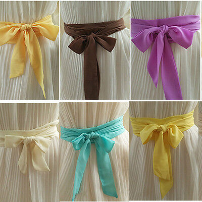 Chiffon Party Sash Belt Ribbon Self Tie Bridesmaid Girl Bow Prom Wedding Dress