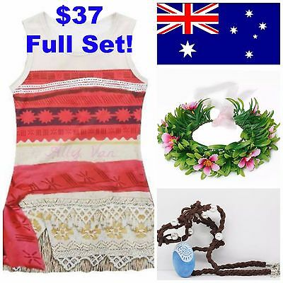 Moana Costume Dress Up Pack - $37 includes Dress, Hair Wreath & Necklace