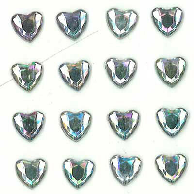 Stick on Bling Hearts Clear AB Scrapbook Wedding Events Cardmaking 16 PCs