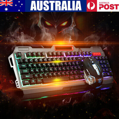 Wired USB Gaming Rainbow LED Backlit Keyboard and Programmable Mouse Combo