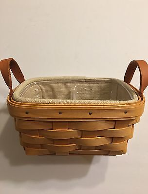 Longaberger Small Basket Leather Handles with Beige Fabric & Plastic Liner NEW