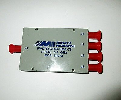 Midwest Microwave PWD-5522-04-SMA-79, 4-Way Power Divider, 2-8 GHz