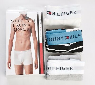 Tommy Hilfiger Stretch Boxer/Trunk Shorts Underwear 3 Pack Pure Cotton For Men