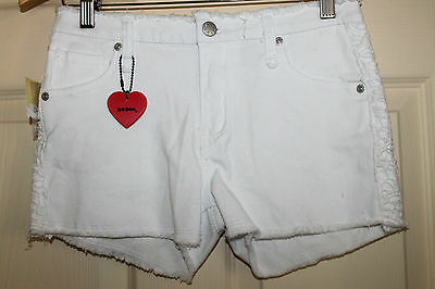 New with Tags JUST JEANS white çut off'denim Shorts with lace pockets size 16