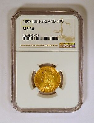 1897 Netherland 10 Gulden Gold Coin NGC MS66 Wilhelmina Young Head