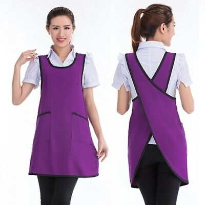 Women Full Apron Cross Back Pockets Kitchen Workwear Household Cleaning Tablier