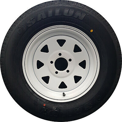 "14x6"" HOLDEN HT 15P Wheel Rim and 185R14c LT Tyre White Trailer Caravan Boat"