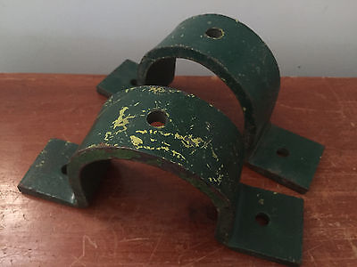 2 Vintage Distressed Large Heavy Duty Metal Brackets Green Industrial - Bookends