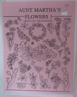 Aunt Martha's flowers 1 embroidery iron on transfers no. 351