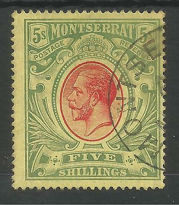 MONTSERRAT SG48 THE 1914 GV 5/- RED&GREEN/yellow FINE USED CAT £160